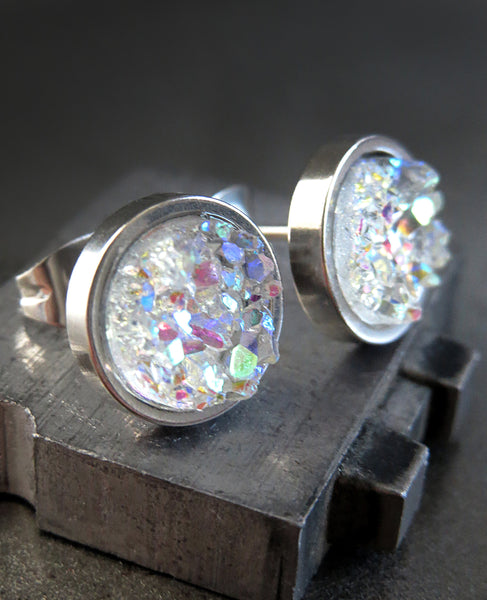 AURORA ICE - Shimmer Iridescent Stud Earrings with Simulated Druzy - Unisex Womens Large Stud Earrings - Modern Jewelry