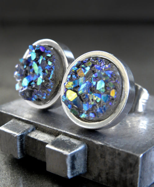 COLD AS ICE - Shimmer Blue Green Iridescent Stud Earrings with Grey Simulated Druzy - Unisex Womens Mens Large Stud Earrings, Modern Jewelry