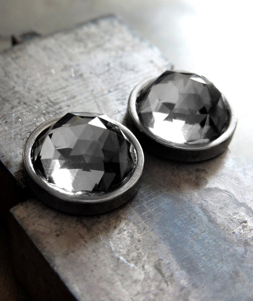 Extra Large Modern Stud Earrings with Round Black Night Faceted Swarovski Crystal, Stainless Steel Bezels, Unisex Women Mens Post Earrings