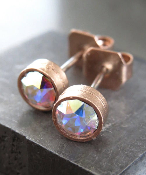 Small Romantic Rose Gold Plated Stud Earrings with Shimmer Swarovski Crystal AB, Sparkly Pastel Multicolor Crystal Rhinestone Post Earrings