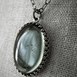 MOOD - Gray Gothic Necklace with Oval Pendant - Domed Soft Grey Glass Cabochon on Black Chain - Goth Wedding Jewelry
