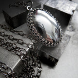 MIRROR MIRROR - Gothic Necklace with Oval Pendant - Reflective Dark Metallic Silver Glass Cabochon on Black Chain - Goth Wedding Jewelry