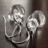 RAINFALL - Small Clear Glass Drop Earrings with Silver