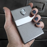 Crystal Skull Business Card Holder Case - Metallic Silver Vegan Faux Leather Card Case - Unisex Slim Wallet for Money, ID Card, Credit Cards
