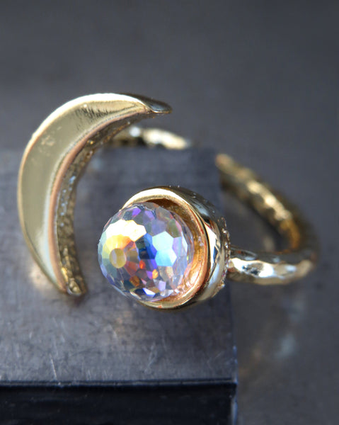 CELESTIAL - Gold Cresent Moon Ring with Vintage Swarovski Crystal with AB Iridescent Finish - Romantic Gift for Teen Girl, Teenager, Women