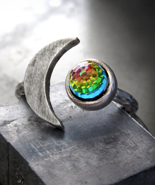 CELESTIAL - Silver Cresent Moon Ring with Vintage Rainbow Swarovski Crystal - Rainbow Jewelry for Teen Girl, Teenager, Women - Moon Jewelry