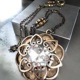 INNER LIGHT - Large Crystal Pendant with Antique Gold Mandala Cage on Black-Gold Chain, Romantic Jewelry for New Years Eve, Valentines Day