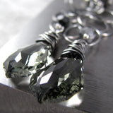 Long Black Diamond Swarovski Crystal Earrings with Oxidized Chain