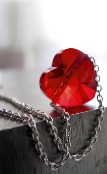 Tiny Swarovski Crystal Red Heart Necklace