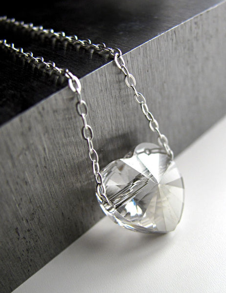 Tiny Heart Pendant Necklace with Clear Swarovski Crystal