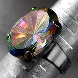 FADED DISCO MEMORIES - Rainbow Starburst Ring with Vintage Oval Glass Cabochon on Gunmetal Adjustable Ring Band, Colorful Multicolor Ring