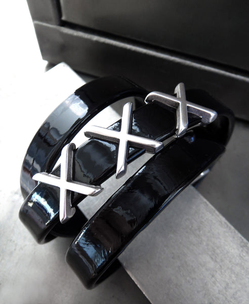 XXX - Black Patent Leather Wrap Bracelet with Silver X Letters - Sexy Shiny Badass Black Leather Bracelet, Magnetic Clasp - Men Women Unisex