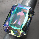 WIZARD - Huge Swarovski Crystal Cocktail Ring - Green, Purple Iridescent - Jewelry for Drag Queen, Drag Show Girl, Mermaid, Cosplay, LGBTQ