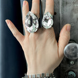 STAR STRUCK - Huge Teardrop Crystal Ring with Clear Swarovski Crystal - Oversized Extra Large Bling Ring - Drag Queens, Show Girls, Cosplay
