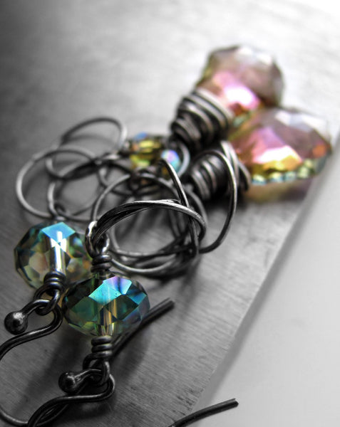 SPECTRUM - Mystical Wire-Wrapped Swarovski Crystal Earrings