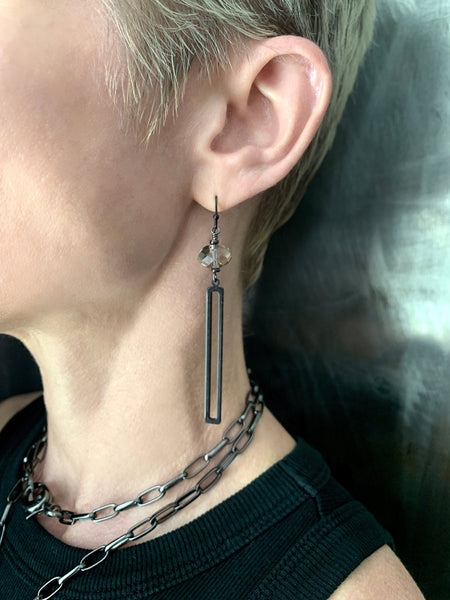 TECTONIC - Long Sleek Black Rectangle Earrings w Swarovski Crystal, Architectural Industrial Earrings, Modern Minimalist Geometric Jewelry