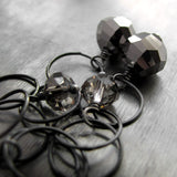 SPACE IN THE VOID - Oxidized Sterling Silver Circle Earrings