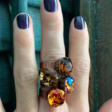 OF THE EARTH - Smoky Quartz and Dark Topaz Color Crystal Rings with Swarovski Crystal, Adjustable Copper Brass Ring Band - Autumn Fall Rings