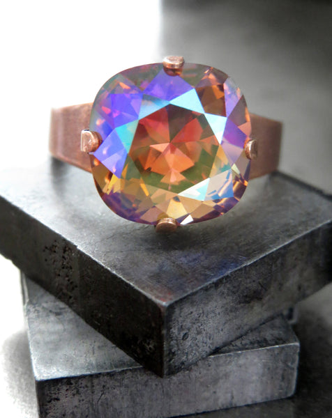 WARM REGARDS - Mystical Crystal Ring with Swarovski Crystal in Warm Amber Orange with Pink Blue Green Sheen, Adjustable Antiqued Copper Ring