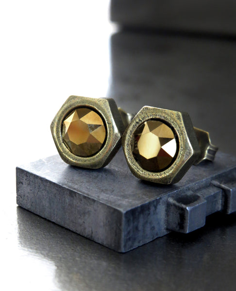 OLD GOLD - Mens Hex Nut Stud Earrings with Metallic Gold Swarovski Crystal, Antique Brass - Unisex Hardware Jewelry, Hex Nut Post Earrings