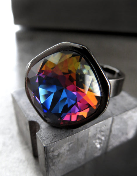 KALEIDOSCOPE - Swarovski Crystal Ring w Multi Color Rainbow Crystal, Goth Gothic Black Gunmetal Adjustable Ring Band, Sparkly Colorful Ring