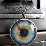 Realistic Eyeball Necklace - Two Sided Eyeball Pendant - 4 Color Options - Aqua Grey Green Blue Eyes - Fun Eye Halloween Necklace Jewelry