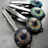 Realistic Eyeball Tie Clip - 4 Colors - Grey Green Aqua Blue Eyeball Tie Bar Tack - Goth Halloween Wedding Groom Groomsmen, Eye Doctor