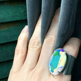 EXALTED - Large Oval Crystal Cocktail Ring - Swarovski Crystal AB - Shimmering Colorful Multicolor Pastel Flashes of Color - Adjustable Band