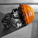Brilliant Orange Goth Halloween Pumpkin Ring