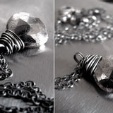 Silver Pyrite Necklace - Wire Wrapped Gemstone Necklace