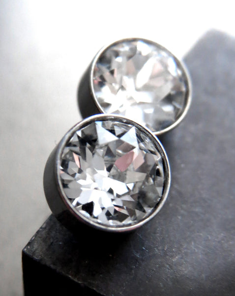 Clear Crystal Stud Earrings with Swarovski Crystal, Stainless Steel, Unisex Post Earrings, Mens Stud Earrings, Modern Stud Earrings