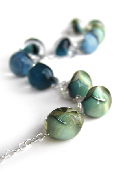 Shoreline - Glass Drop Necklace in Ombre Blue, Aqua, Seafoam Green