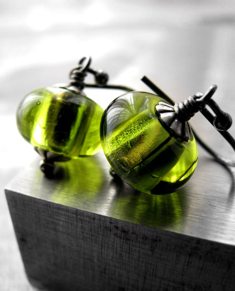 Juicy - Bright Citrus Lime Green Glass Bead Earrings