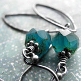 Earthy Aqua Blue Glass Earrings with Hammered Oxidized Sterling Silver Leaves