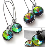 Rainbow Swarovski Crystal Rivoli Earrings