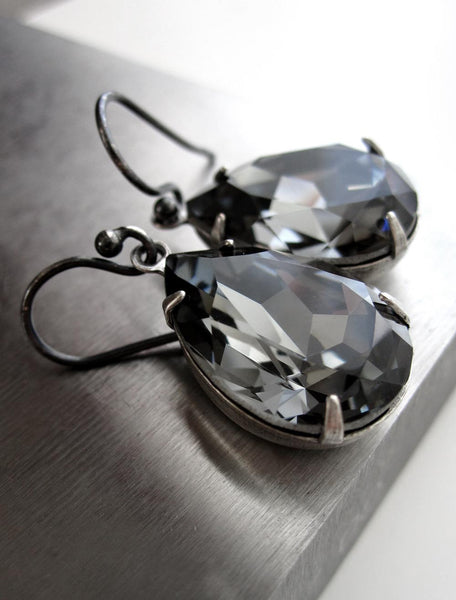 Black Night Swarovski Crystal Teardrop Earrings