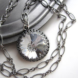 Vintage Style Crown Swarovski Crystal Rivoli Pendant Necklace
