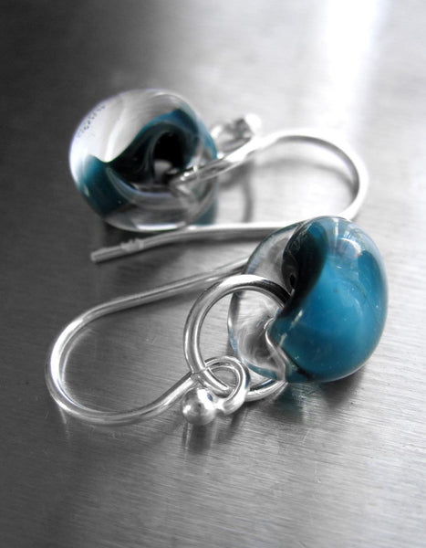 Dark Aqua Glass Drop Earrings with Silver