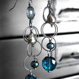 Long Dark Aqua & Pyrite Teadrop Earrings