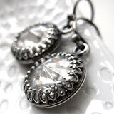 ROYAL - Clear Swarovski Crystal Earrings with Antiqued Silver Crown Bezels