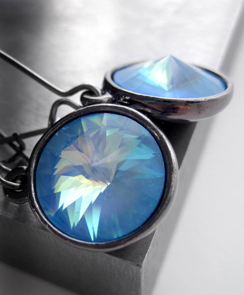 Blue Ghost Swarovski Crystal Rivoli Earrings