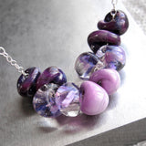 Ombre Purple Glass Bead Drop Necklace