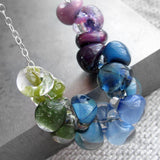 Ombre Glass Drop Necklace - Purple, Blue, Aqua & Green