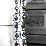 Tiny Ombre Metallic Bead Earrings - Green, Blue & Purple