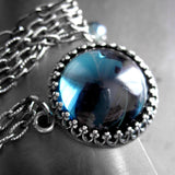 Montana Blue Pendant Necklace with Vintage Style Crown Bezel