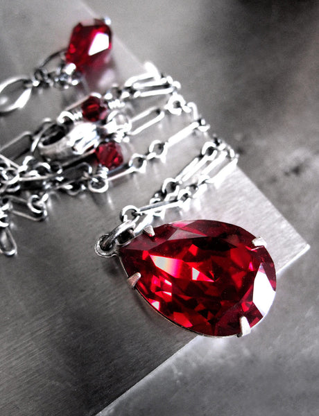 Red Swarovski Crystal Teardrop Necklace
