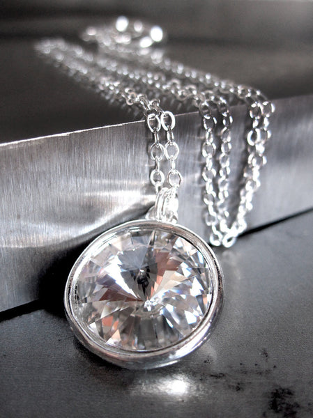 Modern Clear Swarovski Crystal Rivoli Necklace with Silver