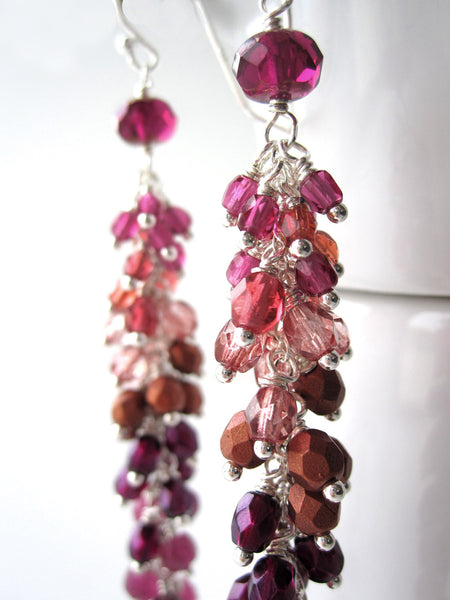 Raspberry Ombre Garland Earrings - Gradient Magenta and Purple