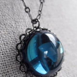 Montana Blue Glass Pendant Necklace with Black Gunmetal Chain