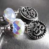 Silver OM Earrings with White Opal Swarovski Crystals